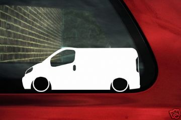 2x LOW Nissan Primastar van / panel Van outline , silhouette stickers, Decals